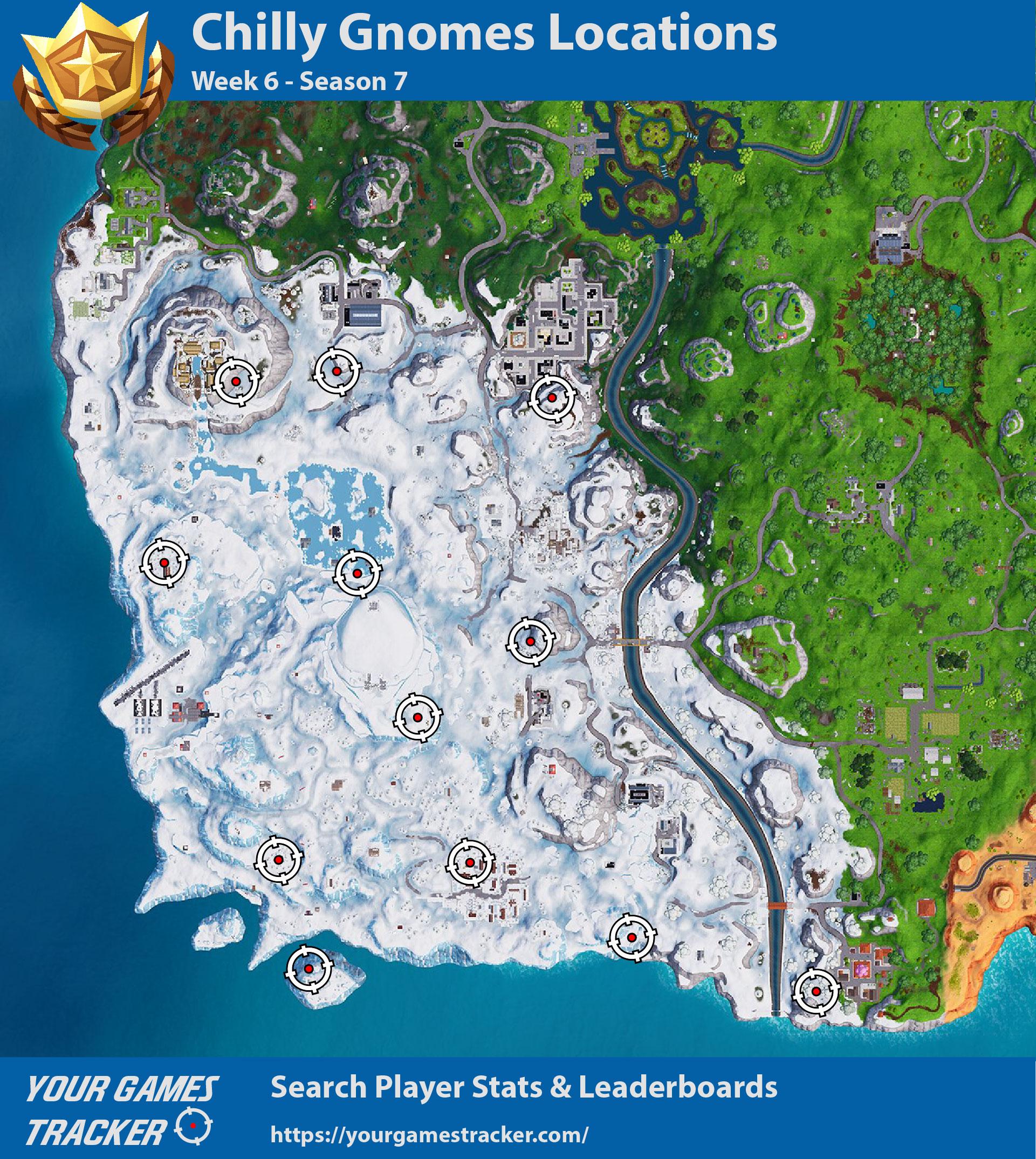 Localização dos gnomos congelados no Fortnite