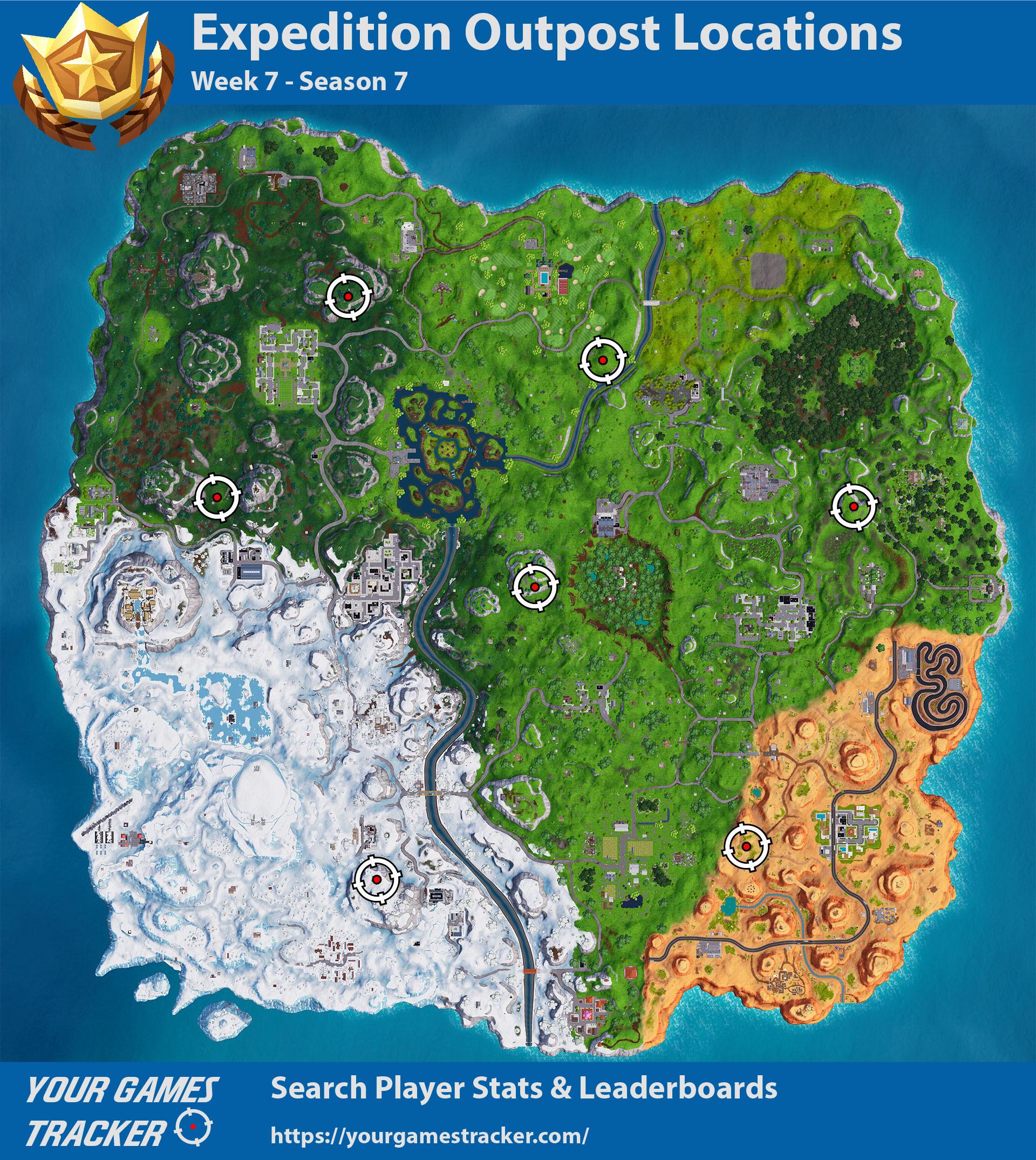Fortnite Battle Royale - Localização Postos Avançados de Expedição